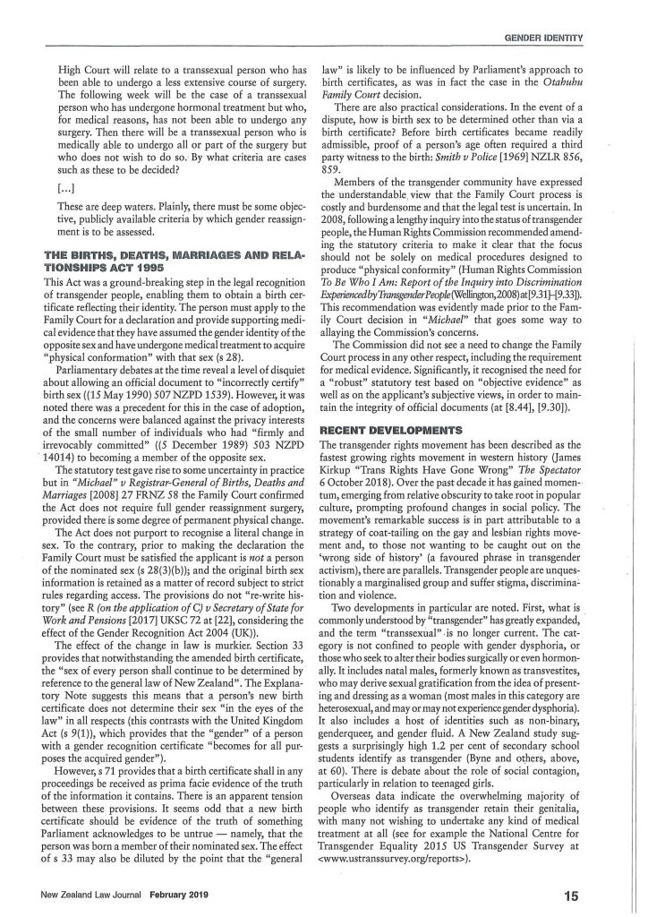 Law journal on transsexual rights
